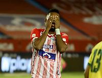 BARRANQUILLA - COLOMBIA, 05-03-2021: Miguel Angel Borja de Atletico Junior, reacciona despues de perder oportunidad de marcar gol a Atletico Bucaramanga, durante partido entre Atletico Junior y Atletico Bucaramanga, de la fecha 11 por la Liga BetPlay DIMAYOR I 2021 jugado en el estadio Metropolitano Roberto Melendez de la ciudad de Barranquilla. / Miguel Angel Borja of Atletico Junior reacts after missing opportunity to score goal to Atletico Junior, during a match between Atletico Junior and Atletico Bucaramanga of the 11th date for BetPlay DIMAYOR I 2021 League played at the Metropolitano Roberto Melendez Stadium in Barranquilla city. / Photo: VizzorImage / Jairo Cassiani / Cont.