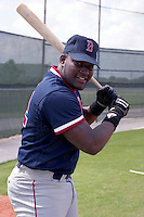 Boston Red Sox Mo Vaughn during spring training circa 1991 at Chain of Lakes Park in Winter Haven, Florida.  (MJA/Four Seam Images)