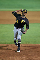 Bristol Pirates relief pitcher Yeudry Manzanillo (35) delivers a pitch during a game against the Bluefield Blue Jays on July 26, 2018 at Bowen Field in Bluefield, Virginia.  Bristol defeated Bluefield 7-6.  (Mike Janes/Four Seam Images)