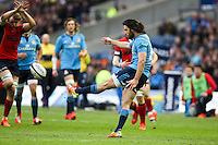28.02.2015.  Edinburgh, Scotland. 6 Nations International Rugby Championship.  Scotland versus Italy.  Italy's Luke McLean clears the ball.