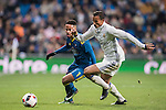 Theo Bongonda Mbul'ofeko Batombo (l) of RC Celta de Vigo battles for the ball with Danilo Luiz Da Silva of Real Madrid during their Copa del Rey 2016-17 Quarter-final match between Real Madrid and Celta de Vigo at the Santiago Bernabéu Stadium on 18 January 2017 in Madrid, Spain. Photo by Diego Gonzalez Souto / Power Sport Images