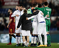 Calcio, Serie A: AS Roma - Atalanta, Roma, stadio Olimpico, 6 gennaio 2018.<br /> Atalanta's players celebrate after winner 2-1 the Italian Serie A football match between AS Roma and Atalanta at Rome's Olympic stadium, January 6 2018.<br /> UPDATE IMAGES PRESS/Isabella Bonotto