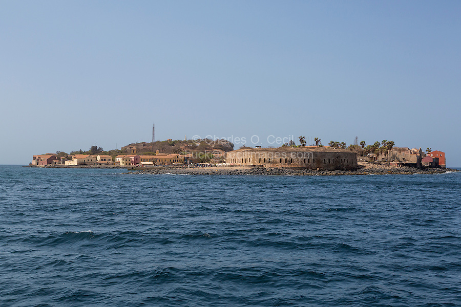 Approaching Goree Island on the Dakar-Goree Ferry.  The large circular building is the French-built (1850) Fort d'Estrees, now the IFAN Historical Museum, Goree Island, Senegal.