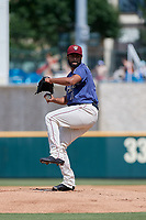Frisco RoughRiders pitcher Pedro Payano (15) during a Texas League game against the Springfield Cardinals on May 5, 2019 at Dr Pepper Ballpark in Frisco, Texas.  (Mike Augustin/Four Seam Images)