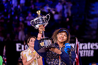 20th February 2021, Melbourne, Victoria, Australia; Naomi Osaka of Japan hold her trophy after winning the Women's Singles Final of the 2021 Australian Open on February 20 2021, at Melbourne Park in Melbourne, Australia.