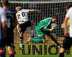 Port Vale 3 Doncaster Rovers 0, 22/08/2015. League One, Vale Park. Thorsten Stuckmann of Doncaster collects the ball under pressure from Port Vale's AJ Leitch-Smith. Photo by Paul Thompson.