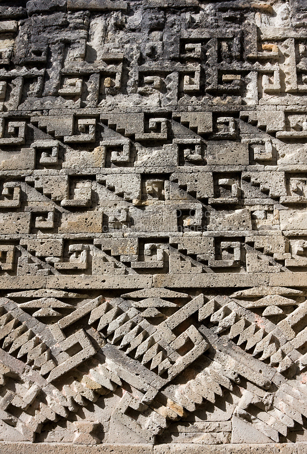 Mitla, Oaxaca, Mexico.  Zapotec Geometric Designs and Symbols Decorate the Construction of the Palace and the Courtyards.