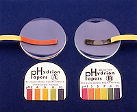 "pH TEST PAPER: UNIVERSAL INDICATOR PAPER<br /> Universal Indicator Paper<br /> ""A"" HYDRION PAPER shows even pH. ""B"" HYDRION PAPER shows odd pH."