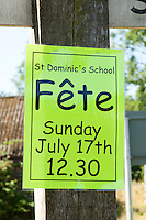 Sign for a primary school summer fete.