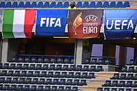 Flags of Italy, Fifa, Uefa Women's euro and Uefa are seen during the Women s EURO 2022 qualifying football match between Italy and Denmark at stadio Carlo Castellani in Empoli (Italy), October, 27th, 2020. Photo Andrea Staccioli / Insidefoto