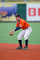 Virginia Cavaliers second baseman Justin Novak (18) on defense against the Seton Hall Pirates at The Ripken Experience on February 28, 2015 in Myrtle Beach, South Carolina.  The Cavaliers defeated the Pirates 4-1.  (Brian Westerholt/Four Seam Images)