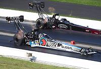 Jul 19, 2020; Clermont, Indiana, USA; NHRA top fuel driver Antron Brown (near) alongside Pat Dakin during the Summernationals at Lucas Oil Raceway. Mandatory Credit: Mark J. Rebilas-USA TODAY Sports