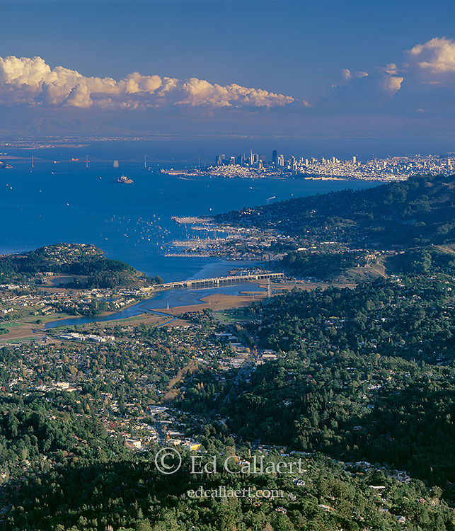 Mill Valley, Sausalito, San Francisco, from Mount Tamalpais, Marin County California