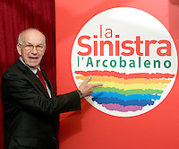Il Presidente della Camera Fausto Bertinotti, candidato presidente del consiglio per La Sinistra L'Arcobaleno, posa accanto al simbolo prima di una conferenza stampa a Roma, 13 febbraio 2008..President of the Italian lower Chamber of Deputies Fausto Bertinotti, candidate premier for La Sinistra -L'Arcobaleno (The Left - The Rainbow), poses near the logo, before of a press conference in Rome, 13 february 2008..UPDATE IMAGES PRESS/Riccardo De Luca