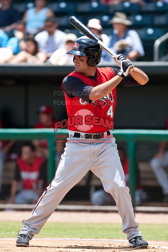 Mike Costanzo (4) of the  Carolina Mudcats during a game vs. the Jacksonville Suns May 31 2010 at Baseball Grounds of Jacksonville in Jacksonville, Florida. Jacksonville won the game against Carolina by the score of 3-2. Photo By Scott Jontes/Four Seam Images