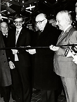 Montreal (QC) CANADA  January 11 , 1984 file photo -Michel Clair, Quebec Minister of Ransport (L) Jean Drapeau, Montreal Mayor (M), and Rene Levesque , Quebec Premier (R) cut the ribbon  at the inauguration of the metro orange line extension to Du College  station
