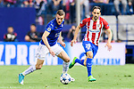 Jamie Vardy (l) of Leicester City is followed by Juan Francisco Torres Belen, Juanfran, of Atletico de Madrid during their 2016-17 UEFA Champions League Quarter-Finals 1st leg match between Atletico de Madrid and Leicester City at the Estadio Vicente Calderon on 12 April 2017 in Madrid, Spain. Photo by Diego Gonzalez Souto / Power Sport Images
