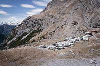 impromptu village with fans waiting for the riders to come up this years Cima Coppi: the Passo dello Stelvio (alt: 2758m)<br /> <br /> Stage 16: Rovett › Bormio (222km)<br /> 100th Giro d'Italia 2017