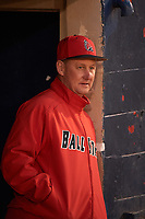Ball State Cardinals head coach Rich Maloney (2) during practice before a game against the Wisconsin-Milwaukee Panthers on February 26, 2016 at Chain of Lakes Stadium in Winter Haven, Florida.  Ball State defeated Wisconsin-Milwaukee 11-5.  (Mike Janes/Four Seam Images)