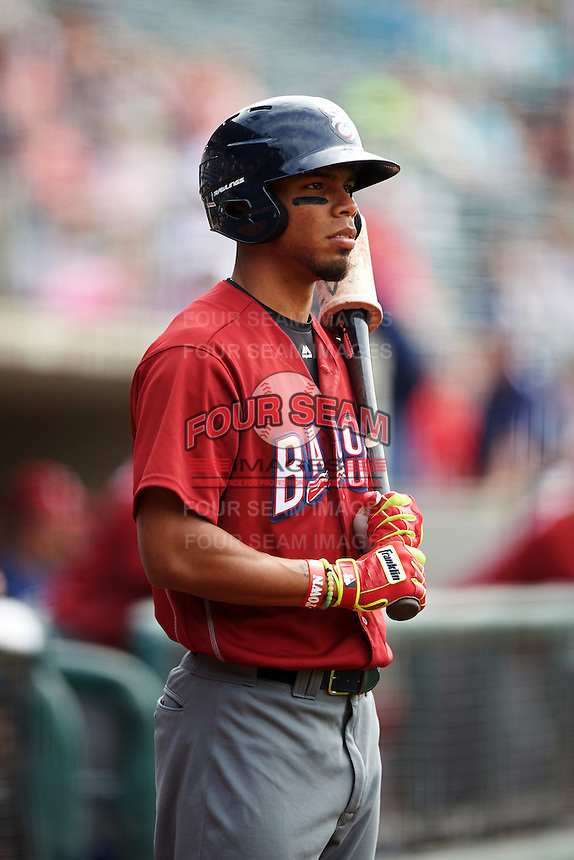 Lehigh Valley IronPigs outfielder Nick Williams (19) on deck during a game against the Columbus Clippers on May 12, 2016 at Huntington Park in Columbus, Ohio.  Lehigh Valley defeated Columbus 2-1.  (Mike Janes/Four Seam Images)