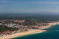 France, Aquitaine, Landes (40) , Soorts-Hossegor et Capbreton: La plage et la passe du Boucarot, Vue aérienne //  France, Aquitaine, Landes,  Soorts Hossegor and Capbreton: The beach , aerial view