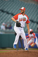 "Buffalo Bisons relief pitcher Matt Dermody (45) during an International League game against the Scranton/Wilkes-Barre RailRiders on June 5, 2019 at Sahlen Field in Buffalo, New York.  The Bisons wore special uniforms as they played under the name the ""Buffalo Wings"". Scranton defeated Buffalo 3-0, the first game of a doubleheader. (Mike Janes/Four Seam Images)"