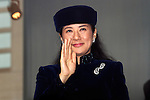 December 23, 2012, Tokyo, Japan - Princess Masako, wife of Japan's Crown Prince Naruhito, waves to a throng of well-wishers from behind the bullet-proof glass panel of the Imperial Palace balcony in Tokyo on Sunday, December 23, 2012, on the 79th birthday of Emperor Akihoto. (Photo by AFLO) UUK -mis-