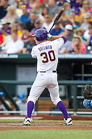 LSU Tigers shortstop Alex Bregman #30 bats during Game 4 of the 2013 Men's College World Series between the LSU Tigers and UCLA Bruins at TD Ameritrade Park on June 16, 2013 in Omaha, Nebraska. The Bruins defeated the Tigers 2-1. (Brace Hemmelgarn/Four Seam Images)