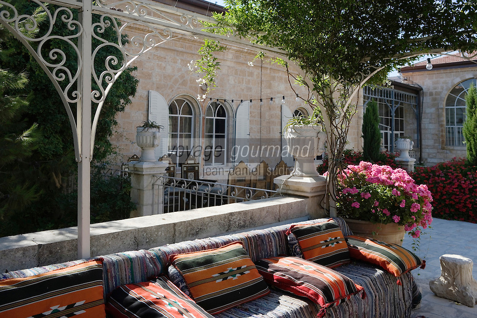 Asie/Israël/Judée/Jérusalem: Hotel American Colony - détail de la terrasse dominant le patio