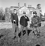 The Duke of Beauforts Hunt. Foot followers discuss the coming days hunting. Easton Grey House, Easton Grey, Wiltshire.