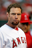 Josh Hamilton #32 of the Los Angeles Angels before a game against the Chicago White Sox at Angel Stadium on May 17, 2013 in Anaheim, California. (Larry Goren/Four Seam Images)