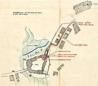 BNPS.co.uk (01202 558833)<br /> Pic: IronCrossMagazine/BNPS<br /> <br /> Pictured: A German sketch map detailing the escape attempt of two POWs posing as a German soldier and a POW on the way to a dentist appointment.<br /> <br /> The comical escape attempts made by British officers from a German prisoner of war camp called Castle Tittmoning have been revealed 80 years later.<br /> <br /> The desperate efforts to break out of the little known but rude sounding camp included three men who hid inside a cramped fireplace for eight days before being found by guards covered in soot. <br /> <br /> Other officers hid under piles of rubbish on a horse-drawn cart and allowed themselves to be driven out of the fortress before they were discovered.<br /> <br /> The men expertly made German uniforms out of blankets and brazenly walked out of the camp disguised as guards before being rumbled.