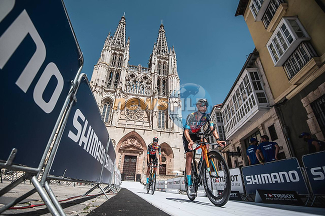 Bahrain Victorious riders recon Stage 1 of La Vuelta d'Espana 2021, a 7.1km individual time trial around Burgos, Spain. 14th August 2021. <br /> Picture: Unipublic/Charly Lopez | Cyclefile<br /> <br /> All photos usage must carry mandatory copyright credit (© Cyclefile | Unipublic/Charly Lopez)