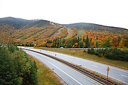 Cannon Mountain in the White Mountains, New Hampshire USA during the autumn months.