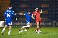 Cohen Bramall, Colchester United leans in on Connor Wilkinson, Leyton Orient and concedes a free kick during Colchester United vs Leyton Orient, Sky Bet EFL League 2 Football at the JobServe Community Stadium on 14th November 2020