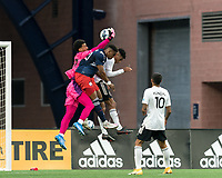 FOXBOROUGH, UNITED STATES - MAY 28: Drake Callender #27 of Fort Lauderdale CF grabs the ball during a game between Fort Lauderdale CF and New England Revolution II at Gillette Stadium on May 28, 2021 in Foxborough, Massachusetts.