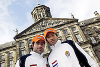 9-2-06, Netherlands, tennis, Amsterdam, Daviscup.Netherlands Russia, Draw, Raemon Sluiter and John van Lottum in front of tee Royal Paliace