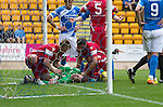 St Johnstone v Stirling Albion…30.07.16  McDiarmid Park. Betfred Cup<br />Keeper Chris Smith lies unconcious after falling badly<br />Picture by Graeme Hart.<br />Copyright Perthshire Picture Agency<br />Tel: 01738 623350  Mobile: 07990 594431