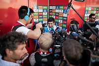 press-mob for Nairo Quintana (COL/Movistar) after losing the red jersey (overall lead) to Primoz Roglic<br /> <br /> stage 10 (ITT): Jurançon to Pau (36.2km > in FRANCE)<br /> La Vuelta 2019<br /> <br /> ©kramon