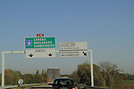 Sign leading to Luxembourg and Lauterbourg, French-Luxembourg border, France.