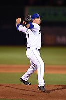 Tulsa Drillers pitcher Ken Roberts (17) delivers a pitch during a game against the Midland RockHounds on May 30, 2014 at ONEOK Field in Tulsa, Oklahoma.  Tulsa defeated Midland 7-1.  (Mike Janes/Four Seam Images)