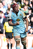 Christian Day of Northampton Saints celebrates scoring a try during the Aviva Premiership match between Harlequins and Northampton Saints at the Twickenham Stoop on Saturday 4th May 2013 (Photo by Rob Munro)