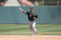 Oakland Athletics shortstop JC Rodriguez (41) makes a throw to first base during an Extended Spring Training game against the San Francisco Giants Orange at the Lew Wolff Training Complex on May 29, 2018 in Mesa, Arizona. (Zachary Lucy/Four Seam Images)