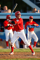 June 22, 2009:  Catcher Jack Cawley of the Batavia Muckdogs at bat during a game at Dwyer Stadium in Batavia, NY.  The Muckdogs are the NY-Penn League Short-Season Class-A affiliate of the St. Louis Cardinals.  Photo by:  Mike Janes/Four Seam Images