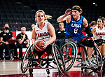 Elodie Tessier, Tokyo 2020 - Wheelchair Basketball // Basketball en fauteuil roulant.<br /> Canada takes on the USA in the wheelchair basketball quarterfinal // Le Canada affronte les États-Unis en quart de finale de basketball en fauteuil roulant. 31/08/2021.