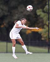 Harvard University forward Erika Garcia (7) heads the ball. In overtime, Harvard University defeated Yale University,1-0, at Soldiers Field Soccer Stadium, on September 29, 2012.