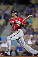 Washington Nationals first baseman Michael Morse #38 bats against the Los Angeles Dodgers at Dodger Stadium on July 23, 2011 in Los Angeles,California. Los Angeles defeated Washington 7-6.(Larry Goren/Four Seam Images)