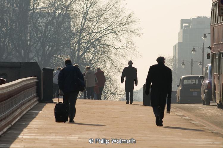 Pedestrians walking on Blackfriars Bridge, London