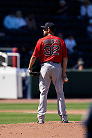 Boston Red Sox pitcher Matt Barnes (32) during a Major League Spring Training game against the Atlanta Braves on March 7, 2021 at CoolToday Park in North Port, Florida.  (Mike Janes/Four Seam Images)