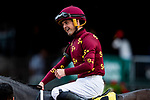 June 3, 2021:  Colby Hernandez celebrates winning the Intercontinental Stakes at Belmont Park in Elmont, New York on June 3, 2021. Evers/Eclipse Sportswire/CSM